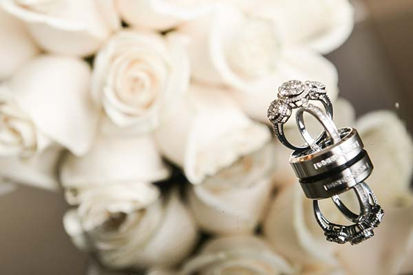 Wedding Rings with Flowers