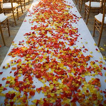 Orange And Red Fall Wedding Aisle