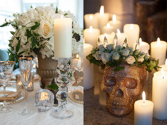 Classy halloween wedding ideas elegant skull wedding centerpieces junglespirit Image collections