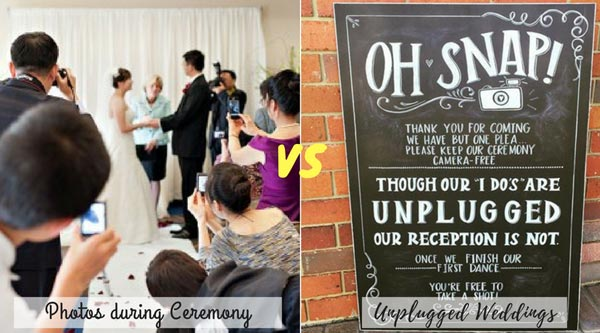 Photos during Ceremony vs Unplugged Wedding | New Wedding Traditions to Replace Old Wedding Traditions
