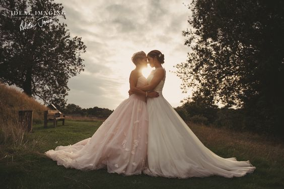 Sunset Wedding Photo with Lesbian Brides | Same-Sex Wedding in Las Vegas | LGBTQ Wedding Ideas