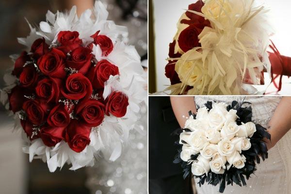 Great Gatsby Wedding Ideas | Feather Collar Bridal Bouquet