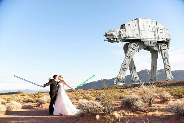 Star Wars Wedding Photo in Las Vegas by Chapel of the Flowers