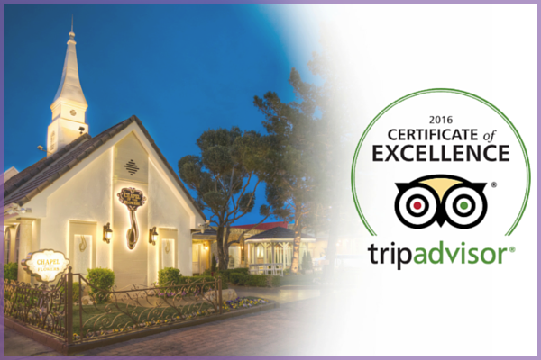 Best Wedding Chapel of the Flowers TripAdvisor Certificate of Excellence