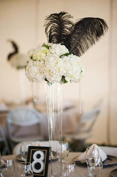 Vintage wedding trend gatsby weddings great gatsby wedding ideas feather centerpiece for 1920s themed wedding junglespirit Choice Image