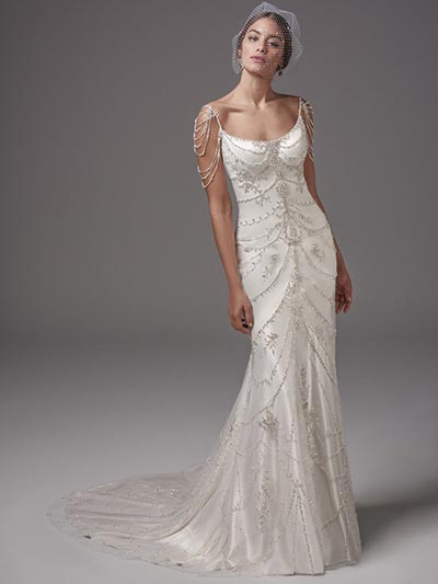 Great Gatsby Wedding Ideas Maggie Sottero Dominique Roaring 20s Dress